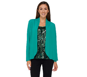Bob Mackie's Sequin Front Tank and Solid Knit Cardigan Set - A269563