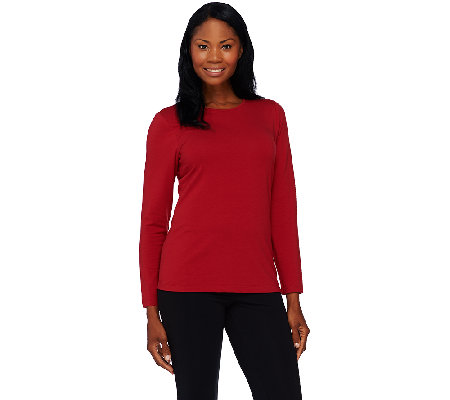 Denim & Co. Essentials Jersey Crew Neck Long Sleeve Top