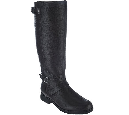 Clarks Leather Wide Calf Boots with Buckle - Merrian Grace