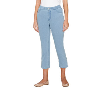 """As Is"" Denim & Co. Regular ""How Comfy"" 5 Pocket Crop Pants - A271463"