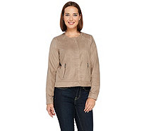 Kelly by Clinton Kelly Perforated Faux Suede Jacket - A271963