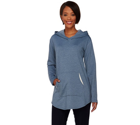 LOGO Lounge by Lori Goldstein French Terry Hoodie with Contrast Pocket