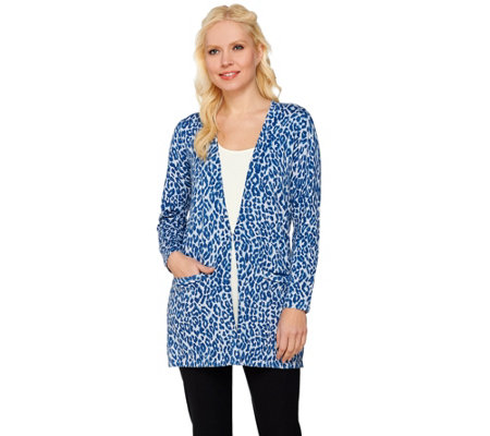 Joan Rivers Animal Print Long Sleeve Boyfriend Cardigan