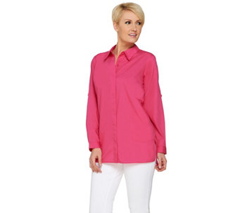 Joan Rivers Boyfriend Shirt with Inverted Pleat Detail - A274363