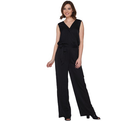 H by Halston V-Neck Charmeuse Sleeveless Jumpsuit