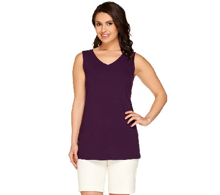 """As Is"" Susan Graver Dolce Knit V-neck Tank"