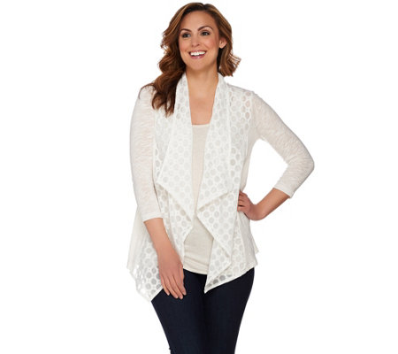 LOGO by Lori Goldstein Slub Knit Embroidered Cardigan