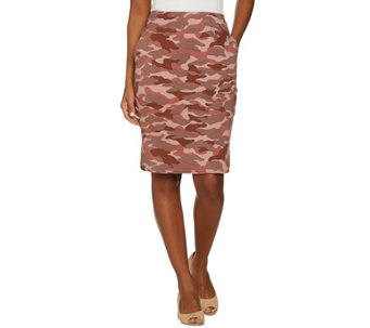 LOGO Lounge by Lori Goldstein Camo Printed French Terry Skirt - A276763