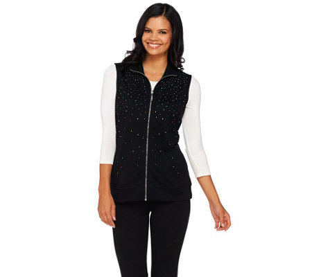 """As Is"" Quacker Factory Multi- Spray Zip Front French Terry Vest"