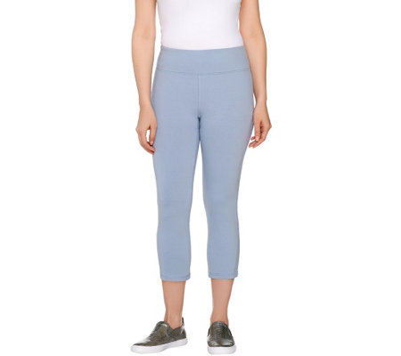 """As Is"" LOGO by Lori Goldstein Knit Capri Pants with Ankle Detail"