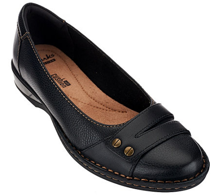 """As Is"" Clarks Leather SLip-on Shoes - Pegg Abbie"
