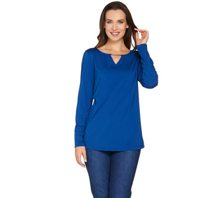Susan Graver Butterknit Top with Keyhole Trim