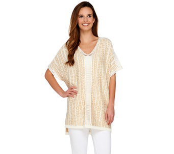 C. Wonder Jacquard Knit Relaxed Short Sleeve Sweater with Pointelle - A279363