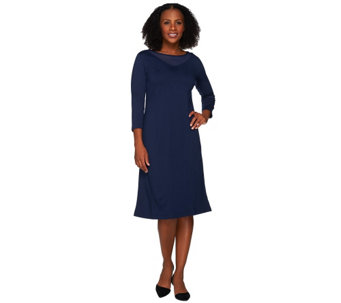 """As Is"" Susan Graver Ponte Knit Dress with Mesh Inset - A280463"