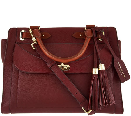 Isaac Mizrahi Live! Bridgehampton Pebble Leather Satchel Handbag