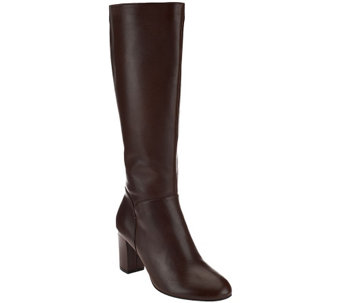 """As Is"" H by Halston Leather Tall Shaft Heeled Boots - Beverly - A281063"