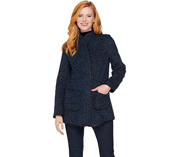 Susan Graver Boucle Zip Front Jacket w/ Faux Leather Trim - A281163