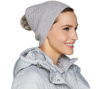 Isaac Mizrahi Live! 2-Ply Cashmere Hat with Faux Fur Detail - A281863
