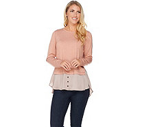 LOGO Lounge by Lori Goldstein French Terry Top with Satin Shirttail - A282163
