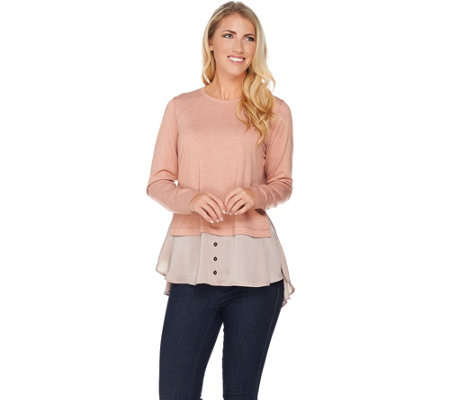 LOGO Lounge by Lori Goldstein French Terry Top with Satin Shirttail