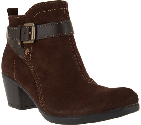 Earth Origins Suede Ankle Boots w/ Buckle Detail - Kaia