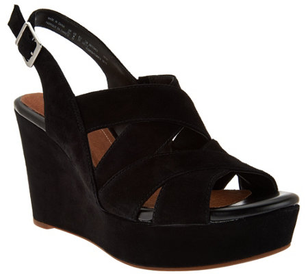 """As Is"" Clarks Artisan Suede Criss-cross Strap Wedges - Amelia Alice"