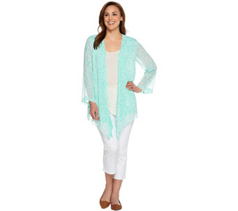 """As Is"" Susan Graver Printed Crinkle Chiffon Cardigan with Solid Layer - A286763"