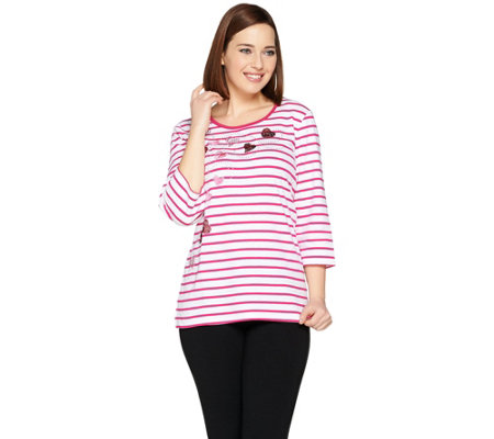 Quacker Factory Whimsical Hearts Striped 3/4 Sleeve T-shirt