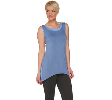 """As Is"" LOGO by Lori Goldstein` Color-Block Knit Tank with Hi-Low Hem"