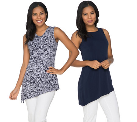 Susan Graver Printed & Solid Liquid Knit Set of 2 Tanks