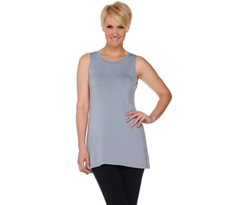 """As Is"" LOGO by Lori Goldstein Knit Tank with Camo Printed Chiffon Back"