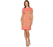 Isaac Mizrahi Live! Engineered Paisley Knit T-shirt Dress - A288663