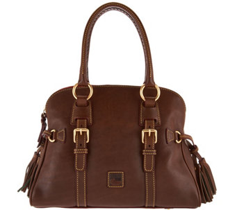 """As Is"" Dooney & Bourke Florentine Leather Domed Buckle Satchel - A288963"