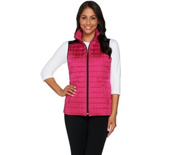"""As Is"" Susan Graver Weekend Lightweight Zip Front Quilted Vest - A289563"