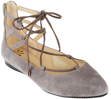 """As Is"" Isaac Mizrahi Live! Lace-up Pointed Toe Flats"