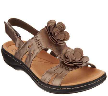 Clarks Leather Lightweight Sandals with Flower Detail - Leisa Claytin