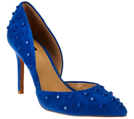 """As Is"" G.I.L.I Leather Studded Pointed Toe Two-piece Pumps - Jilee"
