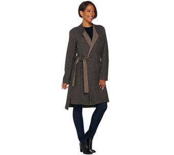"""As Is"" H by Halston Wrap Front Double Face Coat - A293663"