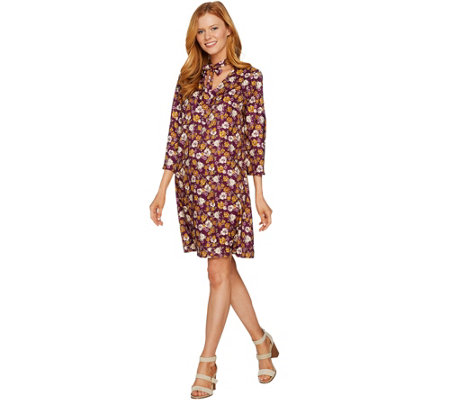 Du Jour Floral Printed 3/4 Sleeve Dress with Neck Tie Detail