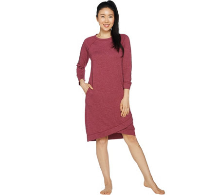 Cuddl Duds Comfortwear French Terry Wrap Over Lounge Dress