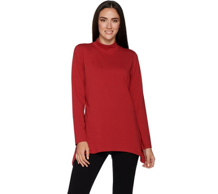 Denim & Co. Long Sleeve Mock Neck Perfect Jersey Trapeze Top