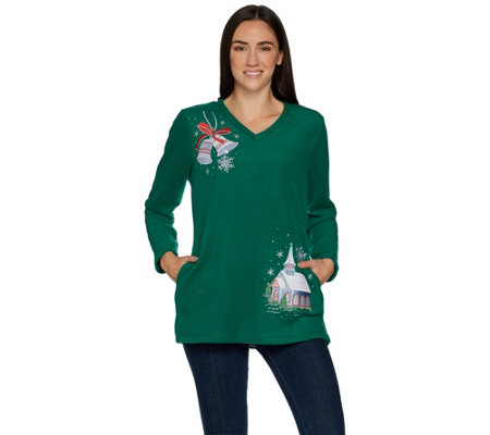 Quacker Factory Embellished V-Neck Fleece Pullover