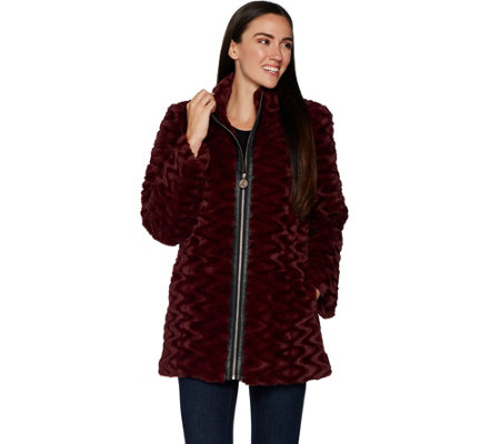 Dennis Basso Sculpted Faux Fur Jacket with Faux Fur Leather Trim