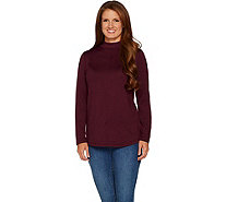 Denim & Co. Mock Neck Long Sleeve Top w/ Seam Detail and Hi-Low Hem - A297763