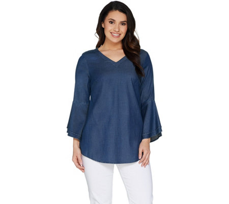 Belle by Kim Gravel Stretch Lyocell Bell Sleeve V-Neck Top