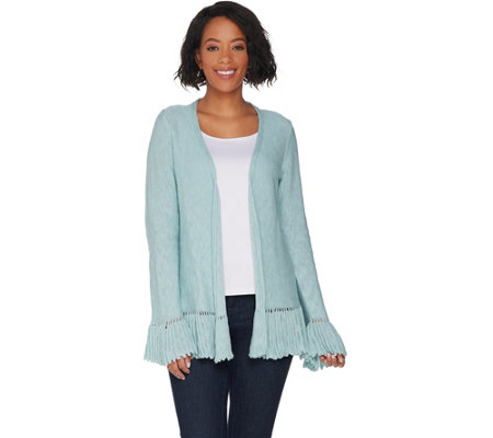 LOGO by Lori Goldstein Slub Open Front Cardigan with Ruffle Detail