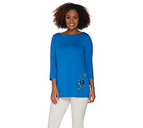 Joan Rivers 3/4 Sleeve Knit Top with Embroidered Flowers - A302663