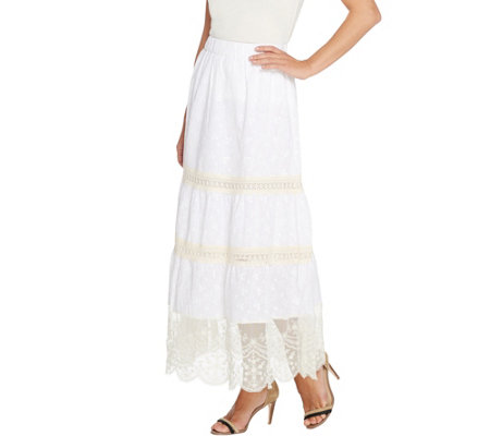 Susan Graver Cotton Lawn Tiered Maxi Skirt