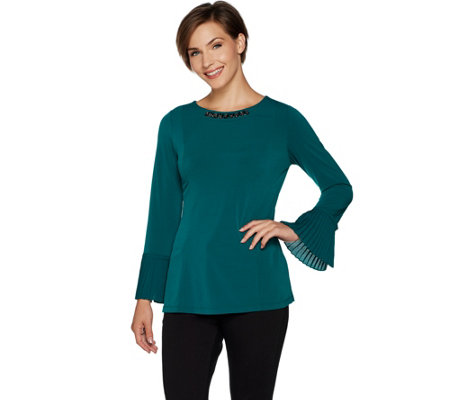 """As Is"" Susan Graver Artisan Liquid Knit Long Sleeve Top with Pleats"