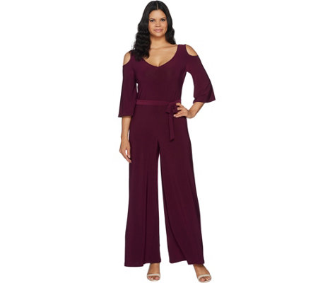 """As Is"" Attitudes by Renee Tall Cold Shouldr Flutter Sleeve Jumpsuit"